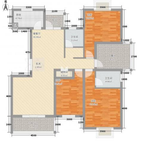 翰林名都3室1厅2卫1厨104.72㎡户型图