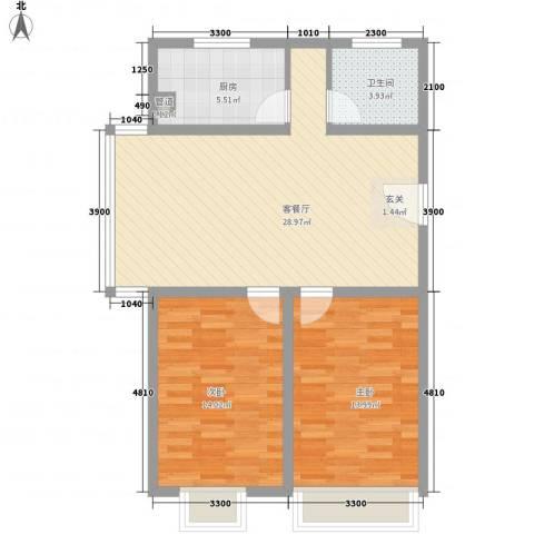 鸿飞逸景2室1厅1卫1厨94.00㎡户型图