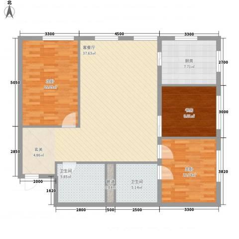 MOMA峰汇3室1厅2卫1厨128.00㎡户型图