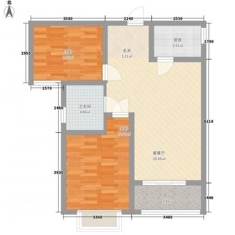 安泰・诚品2室1厅1卫1厨85.00㎡户型图