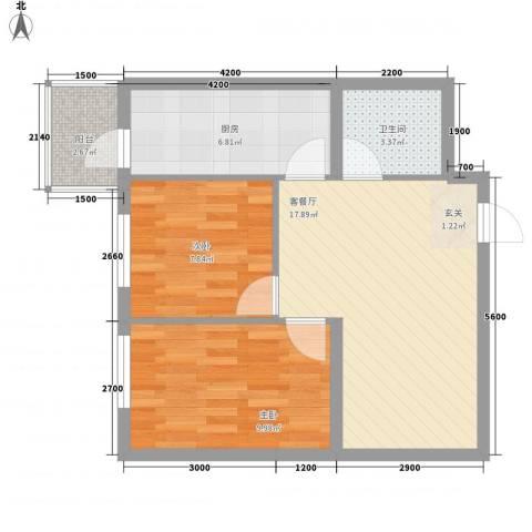 民乐・观澜时代2室1厅1卫1厨71.00㎡户型图