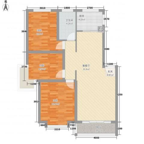 鸿飞逸景3室1厅1卫1厨109.00㎡户型图
