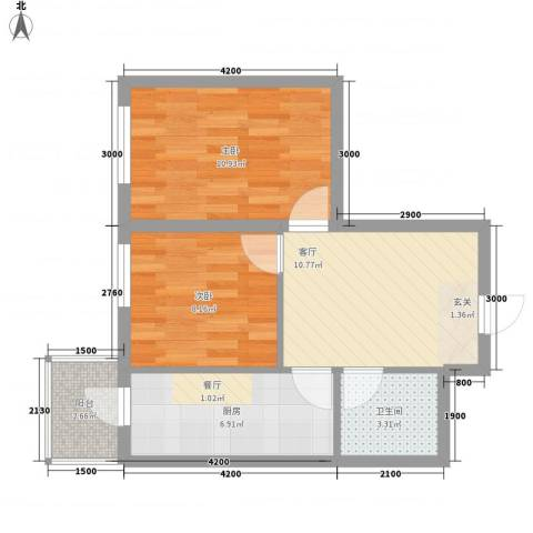 民乐・观澜时代2室1厅1卫1厨64.00㎡户型图