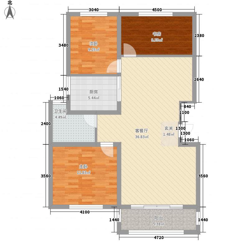 御景嘉苑118.50㎡小高层F户型3室2厅1卫1厨