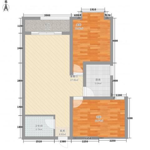 阳光曼哈顿2室1厅1卫1厨73.94㎡户型图