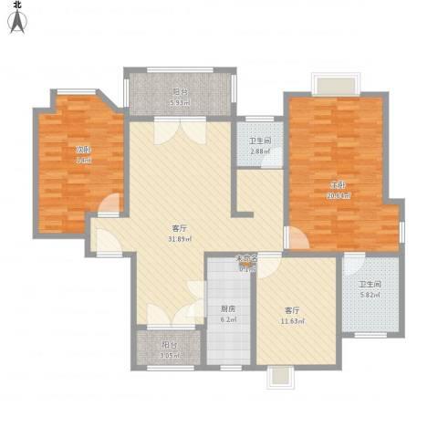 农房・英伦尊邸2室2厅2卫1厨144.00㎡户型图