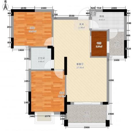 翰林名都3室1厅1卫1厨85.00㎡户型图