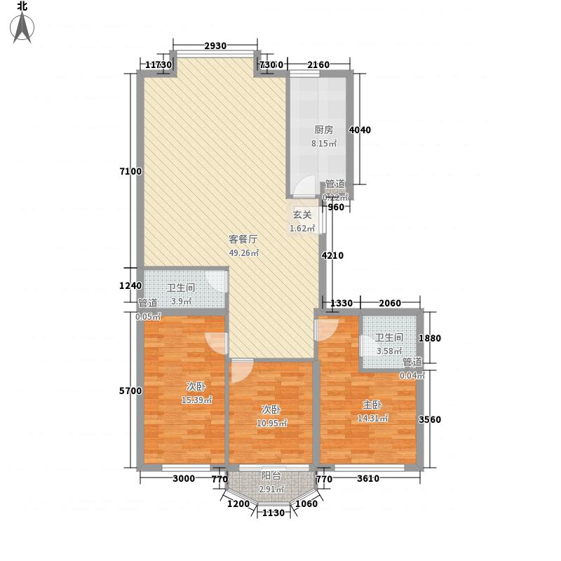 中宏丽舍・香水湖128.35㎡-5户型3室2厅2卫1厨