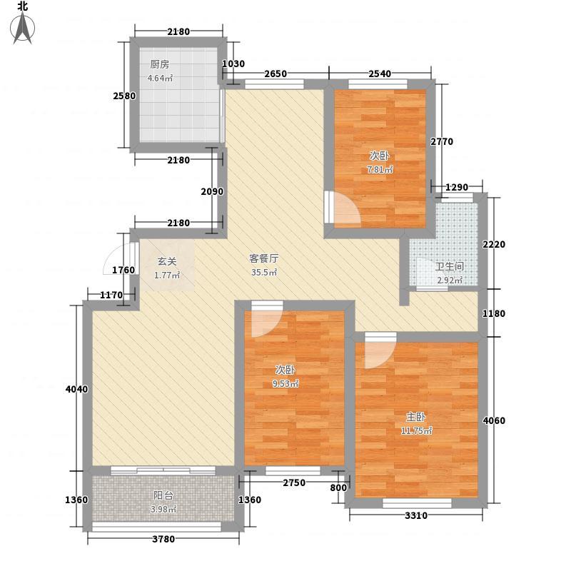 御景嘉苑11.66㎡小高层D户型3室2厅1卫1厨