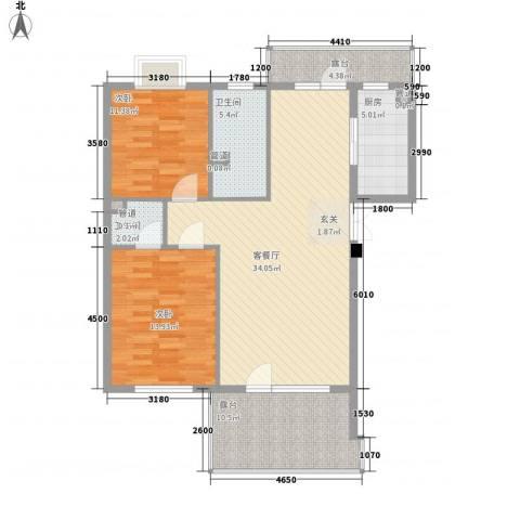阳光海岸2室1厅2卫1厨96.00㎡户型图