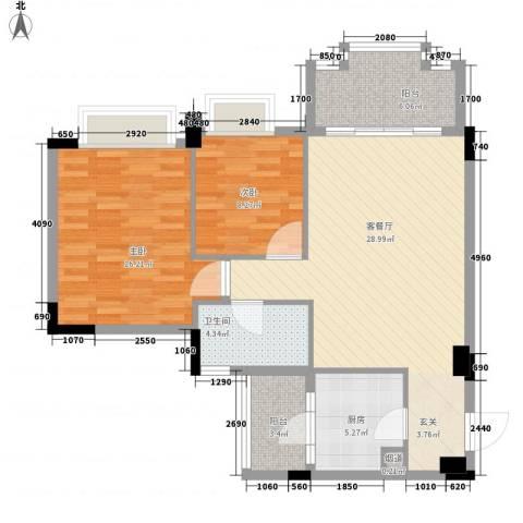 花语心岸2室1厅1卫1厨83.00㎡户型图