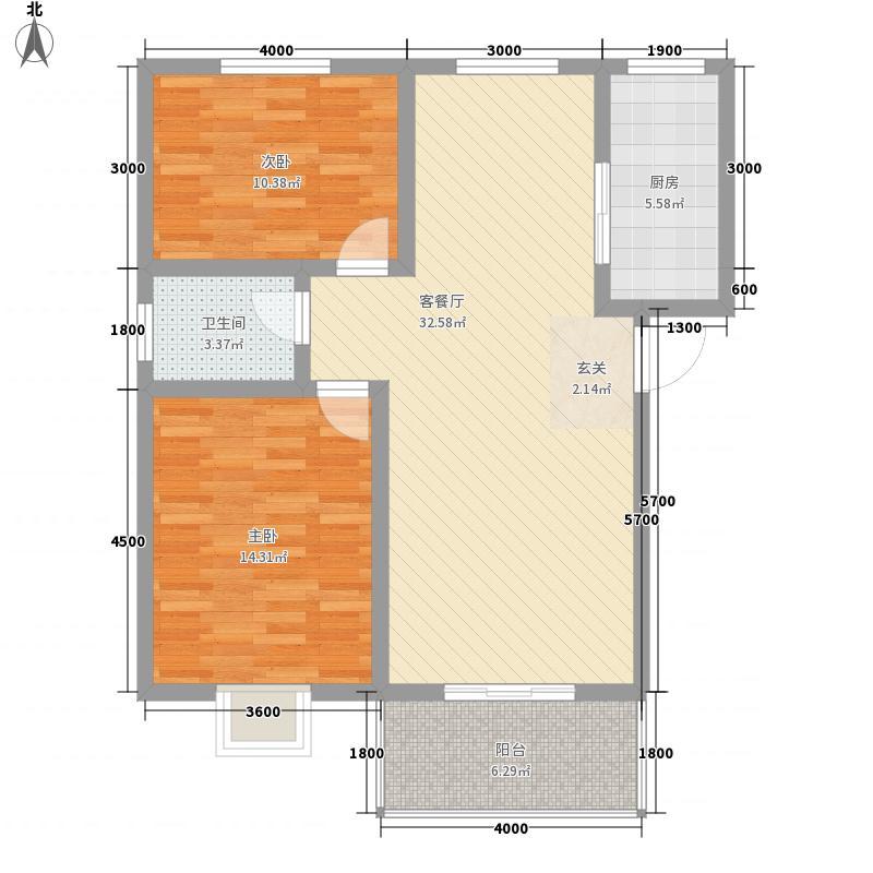 襄江・水岸花园2.50㎡F-A1户型2室2厅1卫1厨