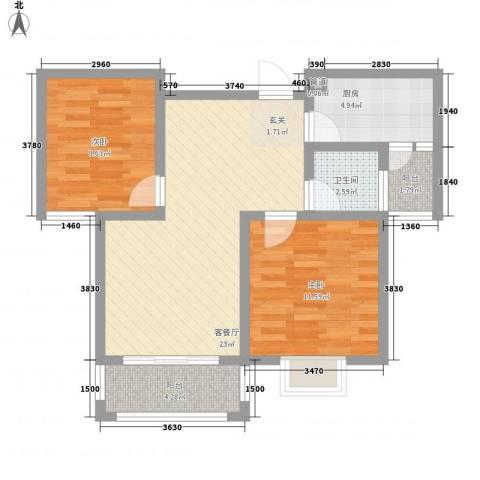 中辰万和城2室1厅1卫1厨85.00㎡户型图