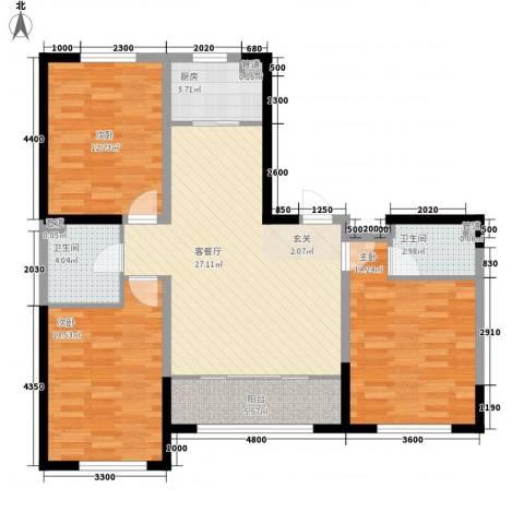 鑫城广场3室1厅2卫1厨120.00㎡户型图