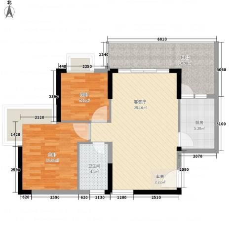 西街苑二期2室1厅1卫1厨64.85㎡户型图