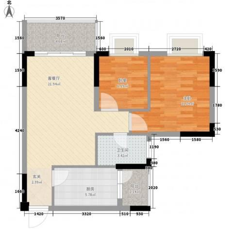 西街苑二期1室1厅1卫1厨77.00㎡户型图