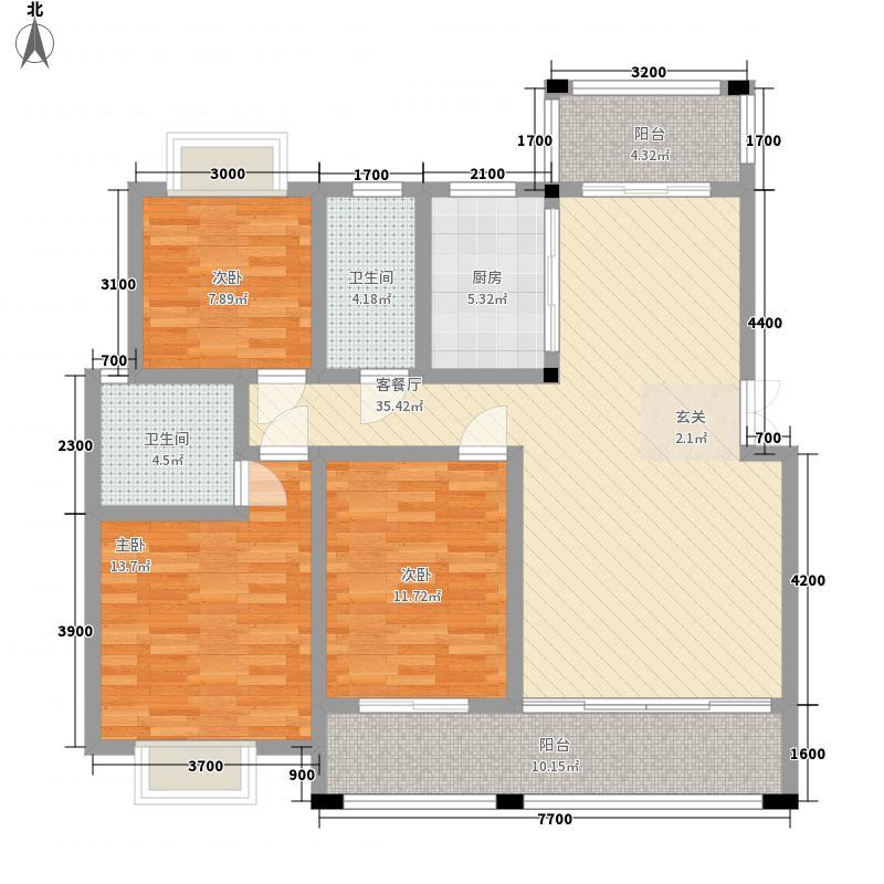 金湘富都125.10㎡E户型3室2厅2卫1厨