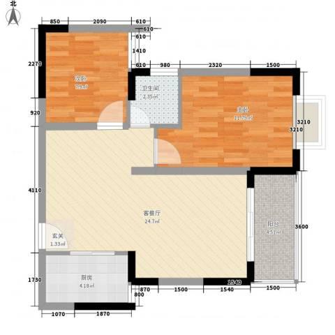 西街苑二期2室1厅1卫1厨75.00㎡户型图