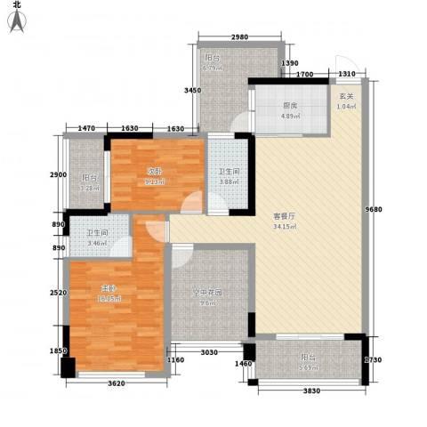 东信华府2室1厅2卫1厨3219.00㎡户型图
