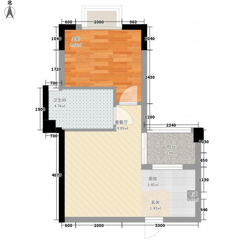 新熙园D户型1室1厅1卫1厨