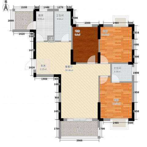 翰林名都3室1厅2卫1厨82.86㎡户型图