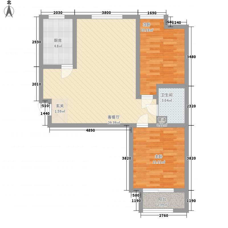 海普・凤凰城3288.82㎡G户型2室2厅1卫1厨