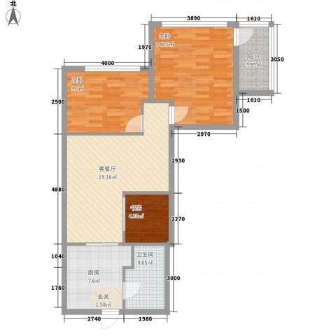 圆梦园3室1厅1卫1厨76.00㎡户型图