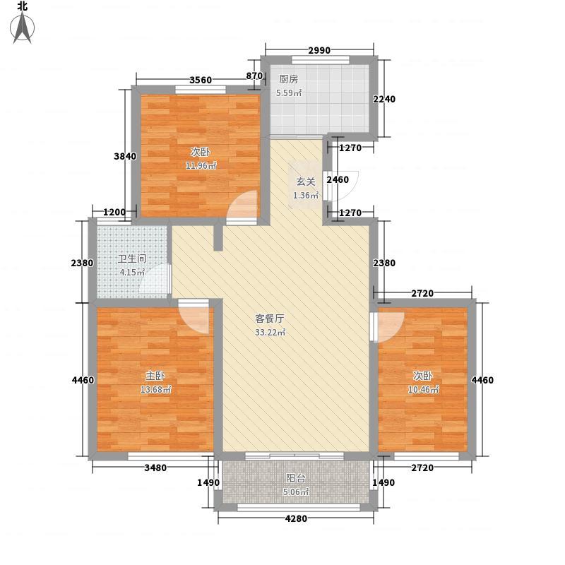 御景嘉苑12.20㎡小高层B户型3室2厅1卫1厨