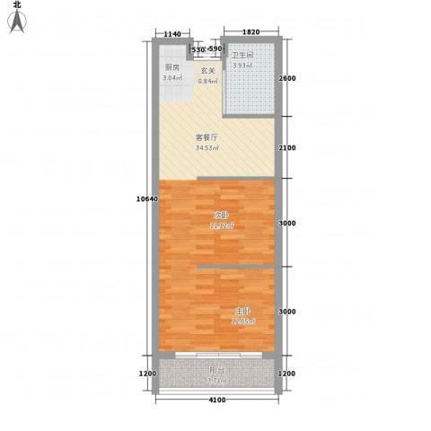 圆梦园1厅1卫0厨57.00㎡户型图