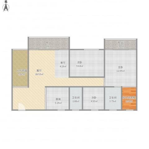 东方顺景2-23013室1厅2卫1厨112.00㎡户型图