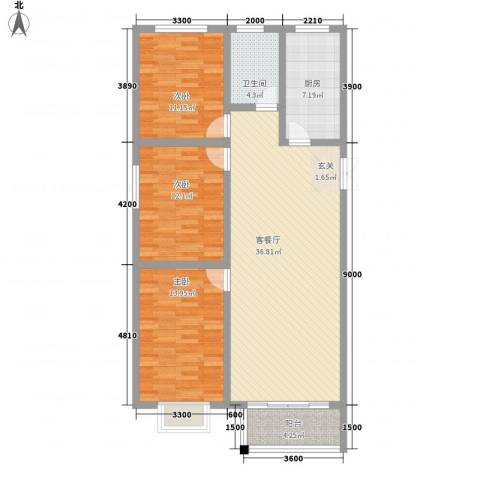 西京府3室1厅1卫1厨128.00㎡户型图