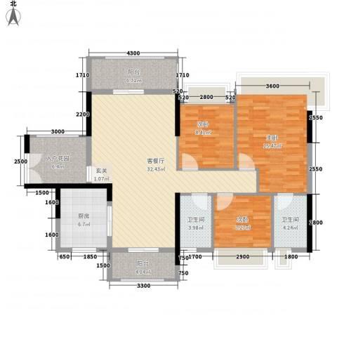 丽丰棕榈彩虹3室1厅2卫1厨121.00㎡户型图
