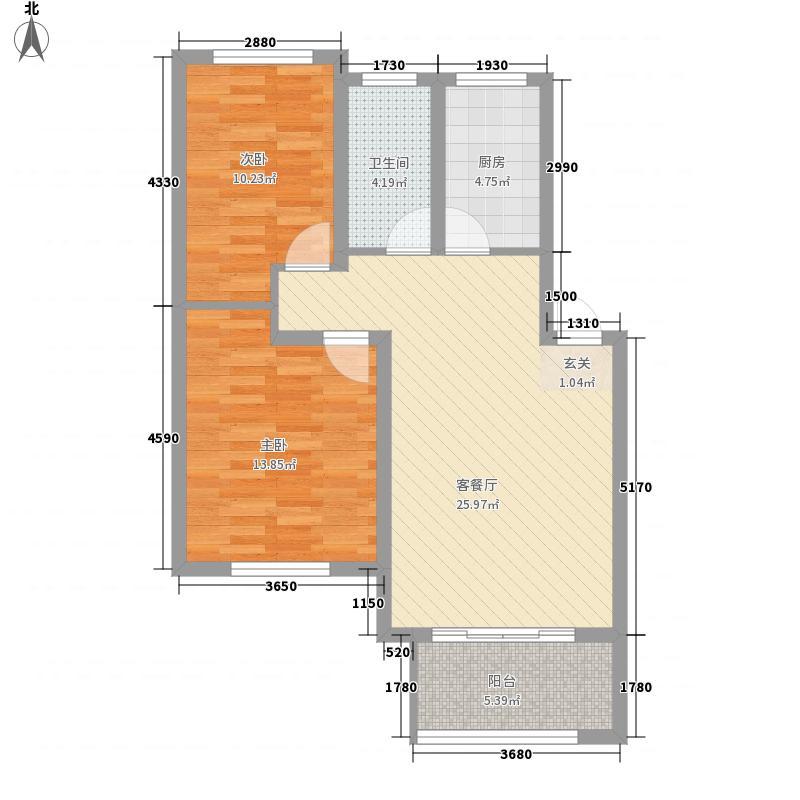 翠湖天地1.66㎡J户型2室2厅1卫1厨