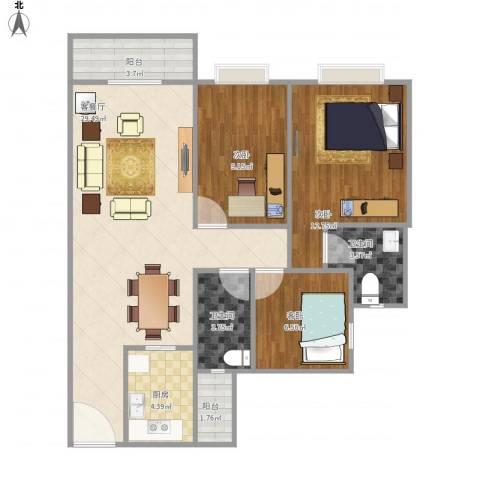 金都名苑(容桂)3室1厅2卫1厨102.00㎡户型图