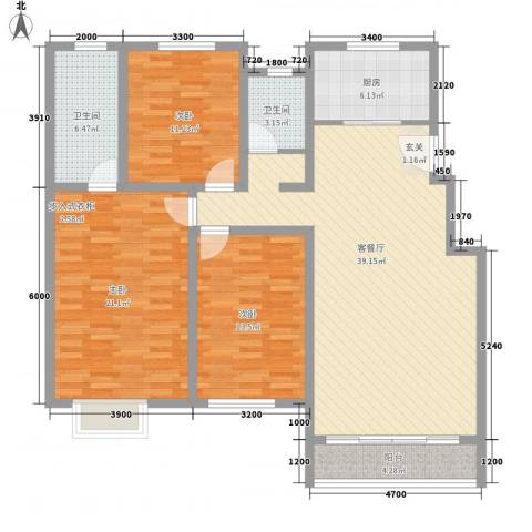 鸿飞逸景3室1厅2卫1厨105.01㎡户型图