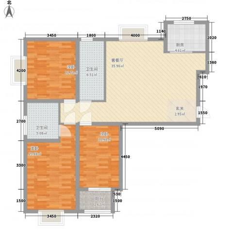 郡宇万象城3室1厅2卫1厨136.00㎡户型图