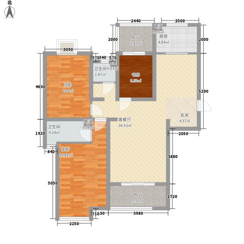 海普・凤凰城83136.85㎡G8a户型3室2厅2卫1厨