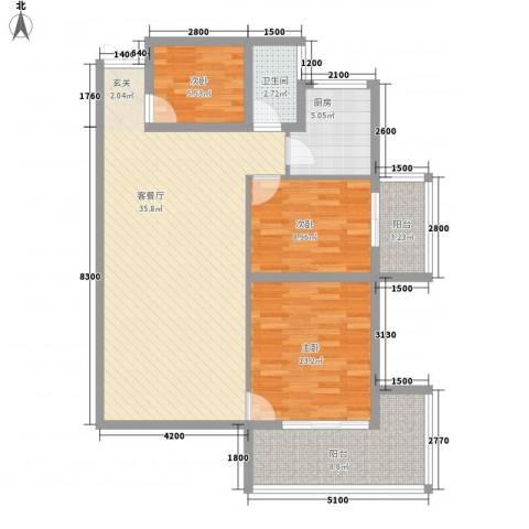 圆梦园3室1厅1卫1厨83.28㎡户型图