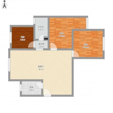紫东国际3室2厅1卫1厨120.00㎡户型图