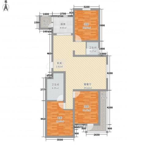 广厦新城3室1厅2卫1厨135.00㎡户型图