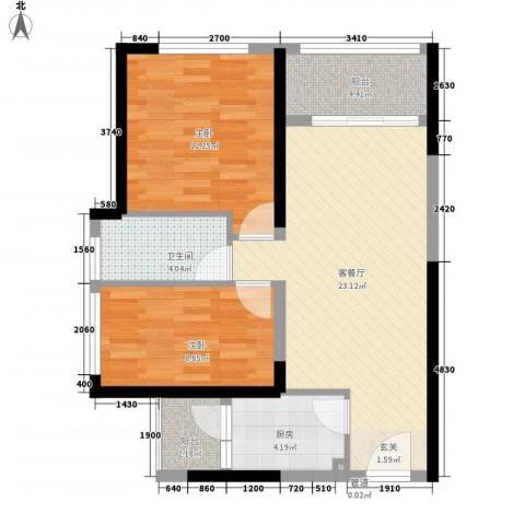 南国豪苑2室1厅1卫1厨67.87㎡户型图