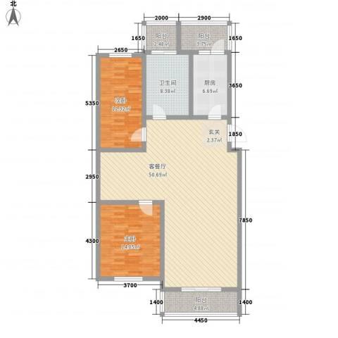 长达公寓2室1厅1卫1厨126.00㎡户型图