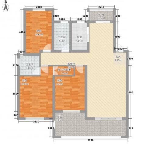 春江明月3室1厅2卫1厨151.00㎡户型图