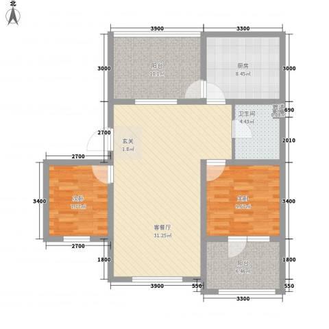 辽阳泛美华庭2室1厅1卫1厨112.00㎡户型图