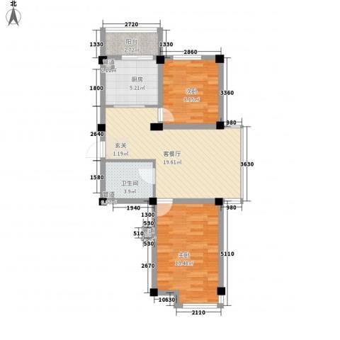 山水龙城2室1厅1卫1厨78.00㎡户型图