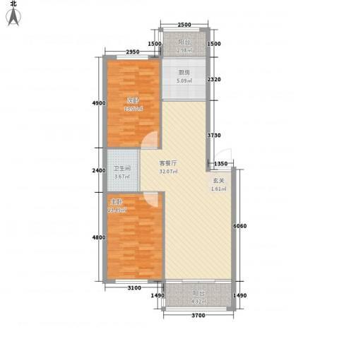 扬州城2室1厅1卫1厨74.70㎡户型图