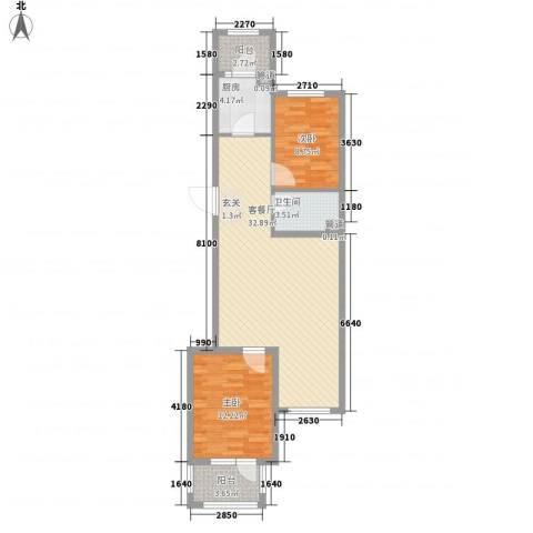 开元溪府2室1厅1卫1厨97.00㎡户型图