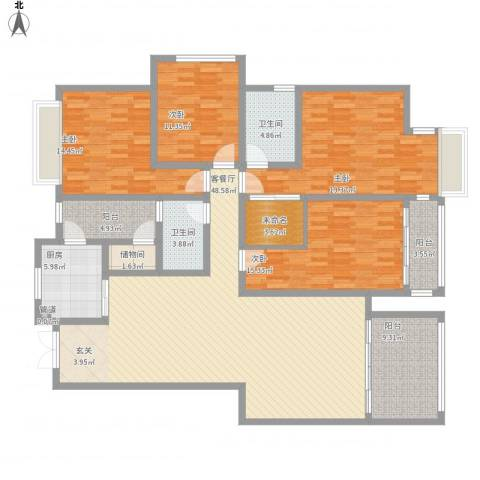 东城艺墅4室1厅2卫1厨212.00㎡户型图