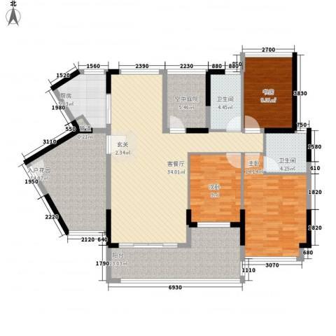 熙龙小镇3室1厅2卫1厨121.00㎡户型图