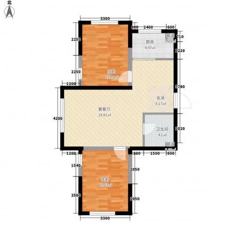 鑫城广场2室1厅1卫1厨91.00㎡户型图